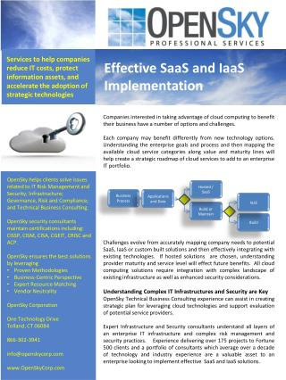 Effective  SaaS and  IaaS Implementation