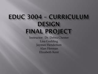 EdUC 3004 – Curriculum Design Final Project