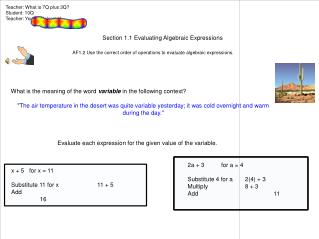 AF1.2 Use the correct order of operations to evaluate algebraic expressions.