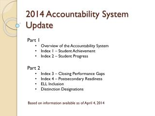 2014 Accountability System Update