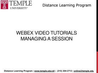 Webex  Video Tutorials  Managing a session