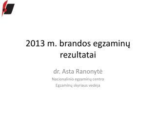 2013 m. brandos egzaminų rezultatai