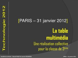 PARIS –  31 janvier 2012