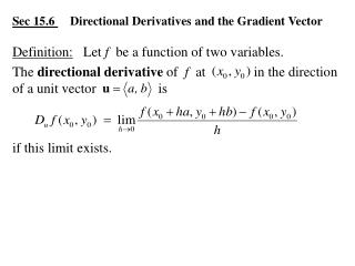 Sec 15.6      Directional Derivatives and the Gradient Vector