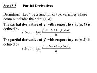 Sec 15.3 	Partial Derivatives