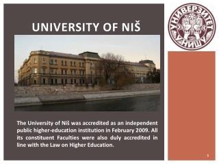 UNIVERSITY OF NIŠ
