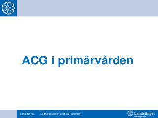 ACG i primärvården