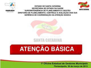 ESTADO DE SANTA CATARINA SECRETARIA DE ESTADO DA SAÚDE SUPERINTENDÊNCIA DE PLANEJAMENTO E GESTÃO