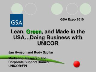 Lean, Green, and Made in the USA Doing Business with UNICOR