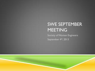 Swe september  meeting