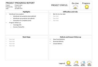 PROJECT PROGRESS  REPORT Project :	Project  name Prepared by :	Your name Date:  	DD-MM-YYYY