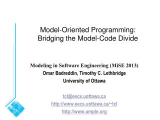 Model -Oriented  Programming: Bridging the Model-Code Divide