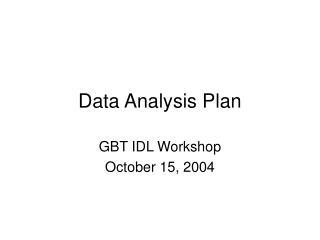 Data Analysis Plan