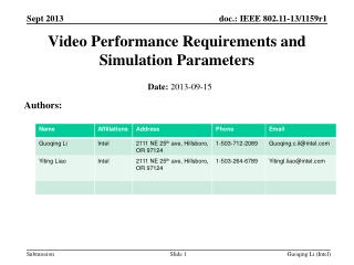 Video Performance Requirements and Simulation Parameters