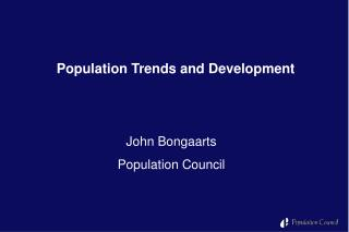 Population  T rends  and Development