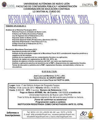 RESOLUCIÓN MISCELÁNEA FISCAL  2013