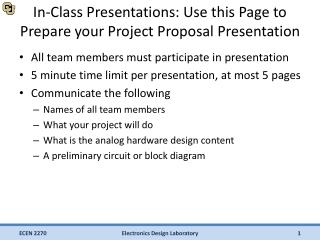 In-Class Presentations: Use this Page to Prepare your Project Proposal Presentation