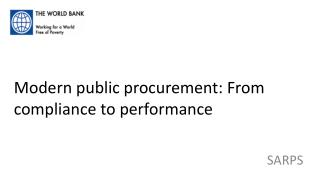 Modern public procurement: From compliance to performance