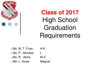 Class of 2017 High School Graduation Requirements