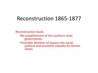 Reconstruction 1865-1877