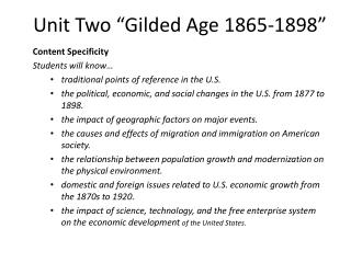 """Unit Two """"Gilded Age 1865-1898"""""""