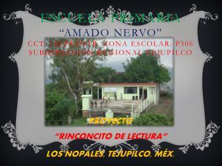 """PROYECTO """"RINCONCITO DE LECTURA"""" LOS NOPALES, TEJUPILCO, MÉX."""