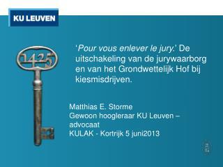 Matthias E. Storme Gewoon hoogleraar KU Leuven – advocaat KULAK - Kortrijk 5 juni2013