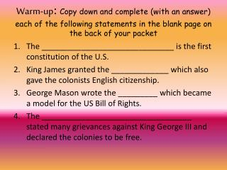The ______________________________ is the first constitution of the U.S.
