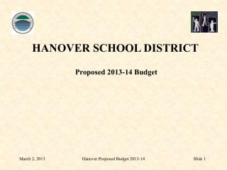 HANOVER SCHOOL DISTRICT