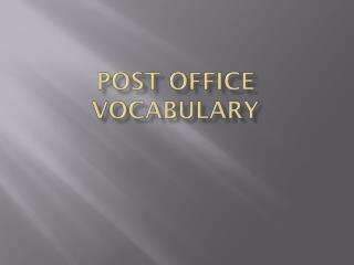 Post Office Vocabulary