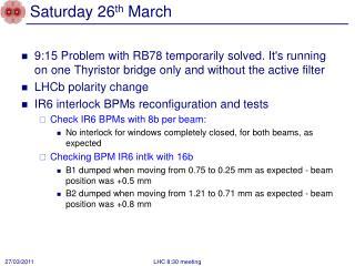 Saturday 26 th  March