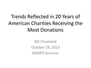 Trends Reflected in 20 Years of American Charities Receiving the Most Donations