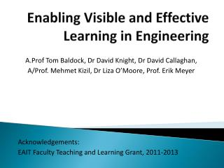 Enabling Visible and Effective Learning in Engineering