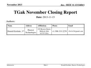 TGak  November Closing Report