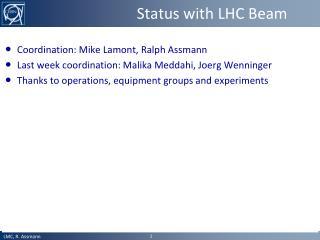 Status with LHC Beam