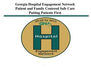 Georgia  Hospital Engagement Network Patient and Family Centered Safe Care Putting Patients First