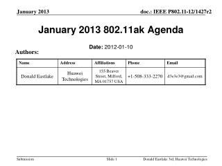 January 2013 802.11ak Agenda