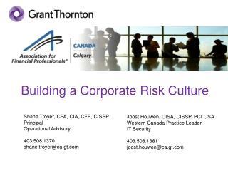 Building a Corporate Risk Culture