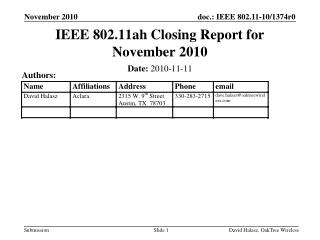 IEEE 802.11ah Closing Report for November 2010