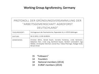 Working Group  Agroforestry , Germany