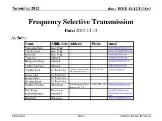 Frequency Selective Transmission