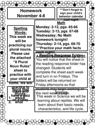 Homework November 4-8
