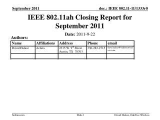 IEEE 802.11ah Closing Report for September 2011