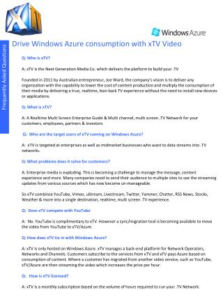 Drive Windows Azure consumption with xTV Video