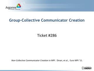 Group- Collective Communicator Creation