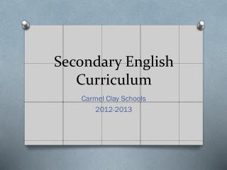 Secondary English Curriculum