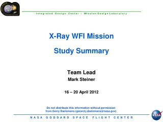 X-Ray WFI Mission Study Summary