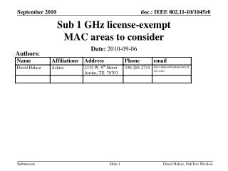 Sub 1 GHz license-exempt MAC areas to consider