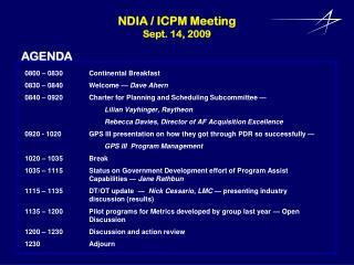 NDIA  / ICPM Meeting Sept. 14,  2009