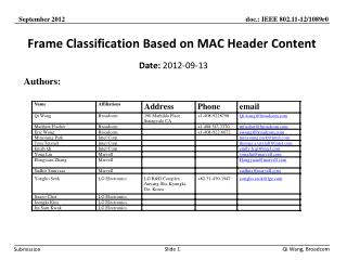 Frame Classification Based on MAC Header Content